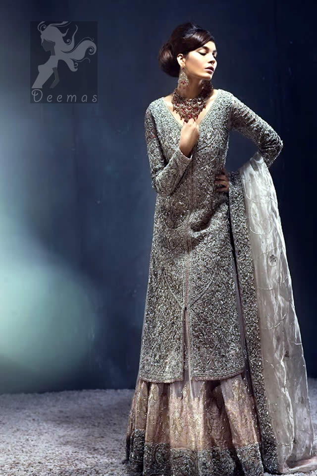 Latest Pakistani Silver Grey Front Open Gown with Lehenga and Organza Dupatta 2016