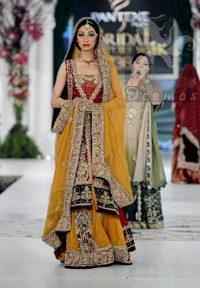 Mehndi Collection 2017 – Red Back Trail Gown – Yellow Lehenga – Bridal Dupatta