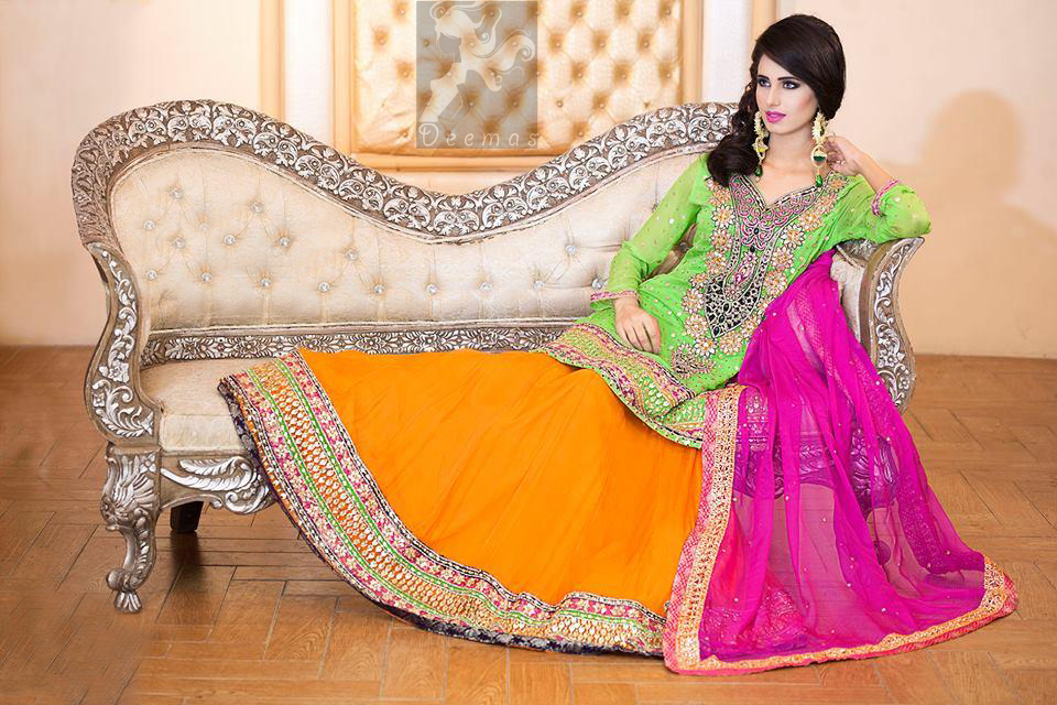 Pakistani Mehndi Wear Bright Green Shirt Orange Lehenga Pink Dupatta 2016