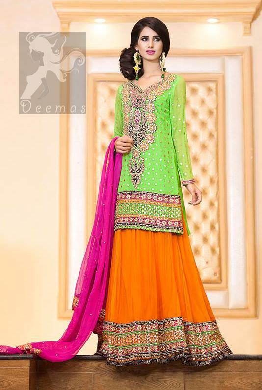 Pakistani Mehndi Outfit Bright Green Embroidered Short Shirt With Orange Lehenga and Shocking Pink Dupatta