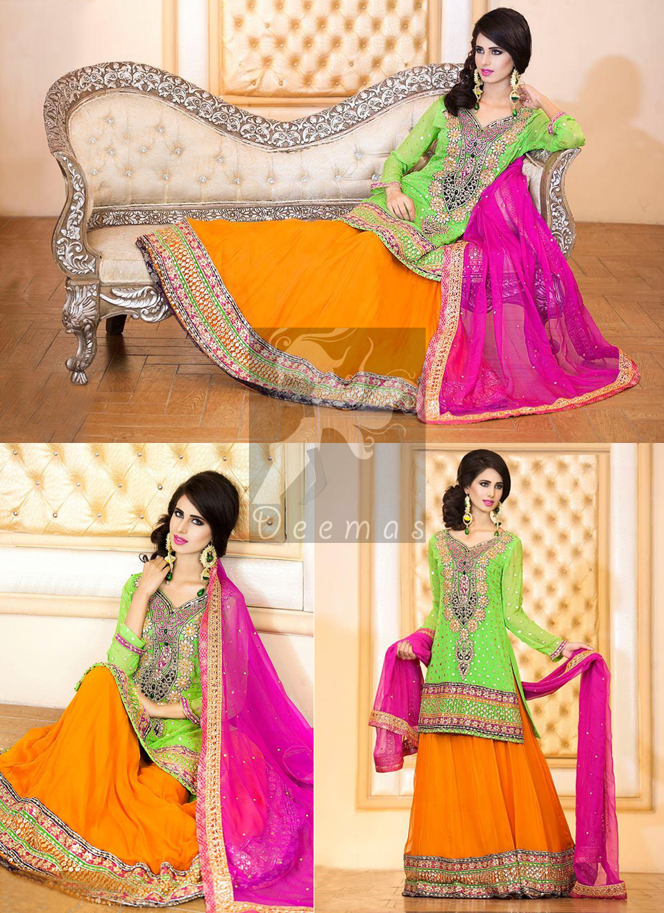 Bright Green Shirt With Orange Lehenga and Shocking Pink Dupatta. Best Dress for Mehndi Mayon Henna Function.