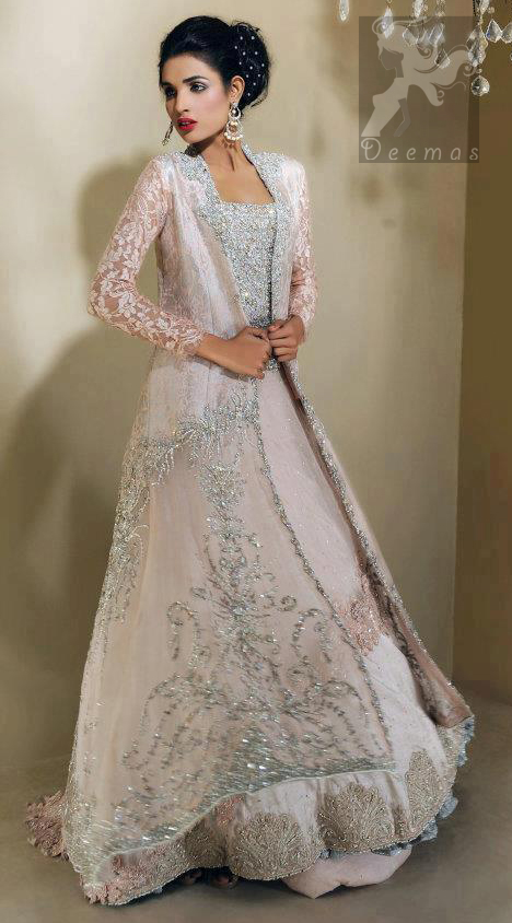 Pale Pink Double Layer Front Open Bridal Gown Back Trail Lehenga