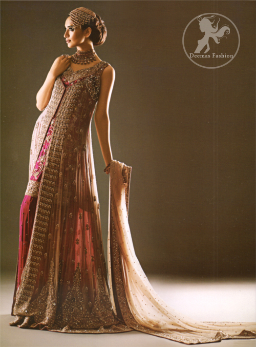 Pale Peach Heavily Embroidered Gown with Shocking Pink Straight Shirt