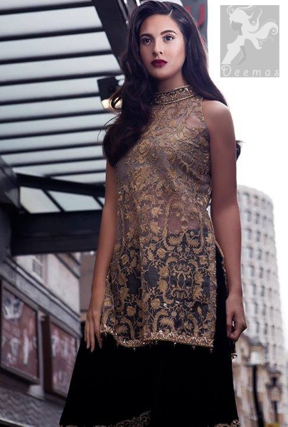 Party Wear Dress Light Golden Fully Embroidered Shirt With Black Velvet Sharara