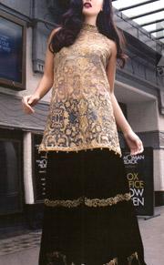Party Wear Dress Light Golden Fully Embroidered Shirt With Black Velvet Sharara