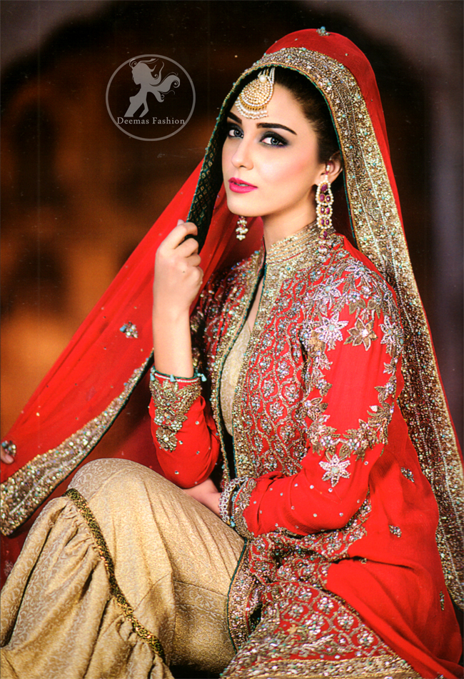 Red Front Open Bridal Gown with Golden Jamawar Gharara
