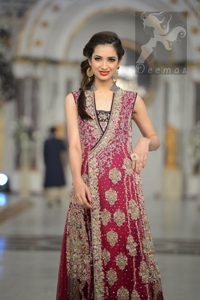 Shocking Pink Light Brown Angrakha Maxi - Embroidered Dupatta