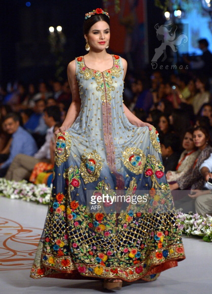 Triple Tone Multiple Colour Floral Embroidered Bridal Wear Designer Pishwas