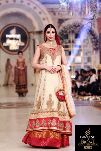 Off White Bridal Wear Frock With Orange Lehenga