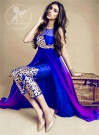 Royal Blue Double Layer Frock – Embroidered Capri Pants