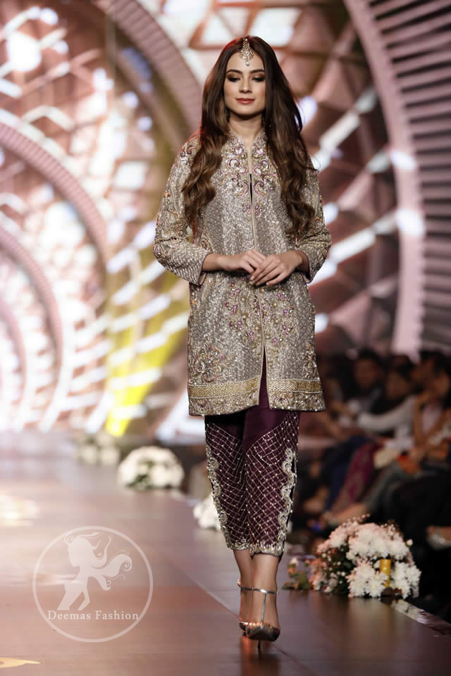 4b34c8c132c6 Formal Wear Collection - Gray Front Open Shirt - Plum Embroidered Cigarette  Pants
