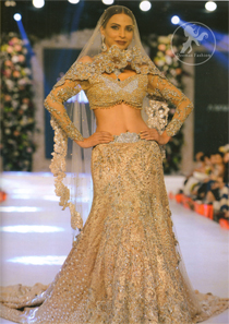 Bridal Wear Lehenga Choli – Light Brown Blouse -Back Trail Lehenga