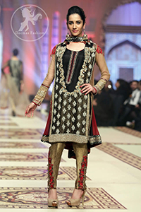 Black Short Shirt - Gold Brocade Cigarette Pants - Deep Red Dupatta