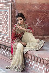 Deep Red Front Open Short Shirt - Beige Sharara