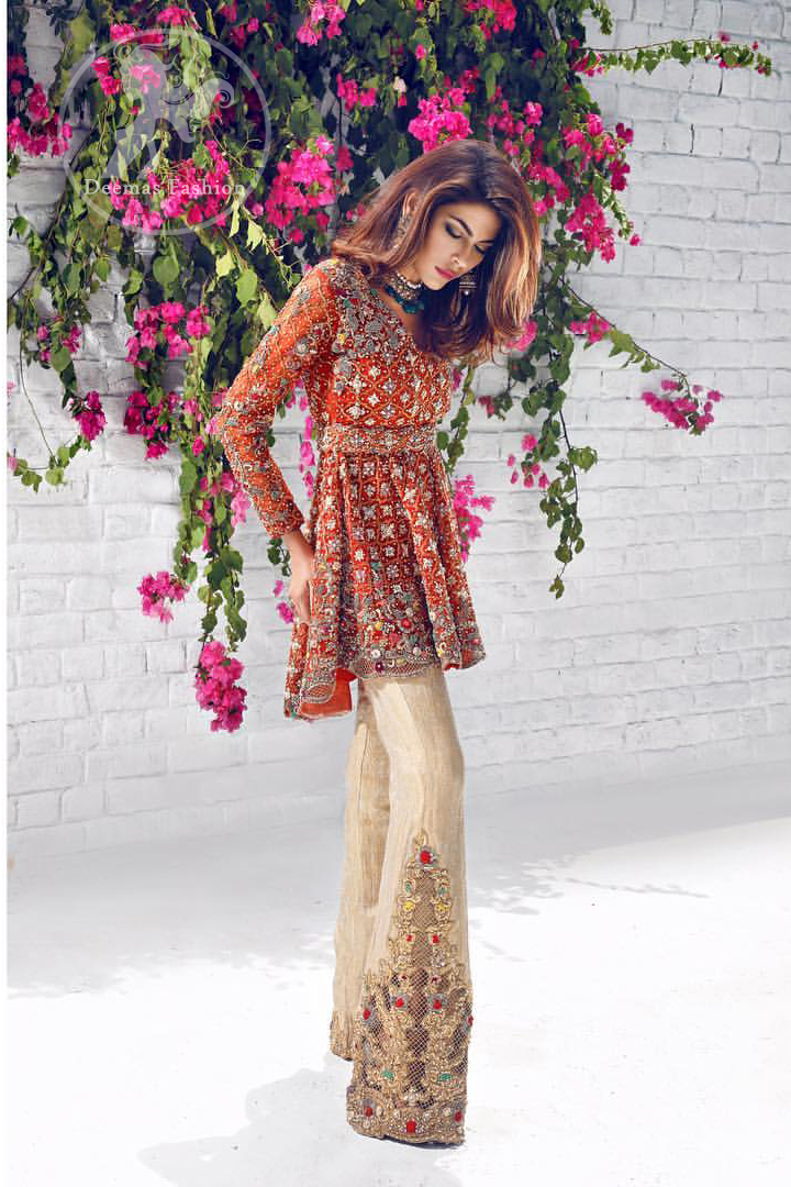 rust-party-wear-short-frock-with-beige-embroidered-pants-3