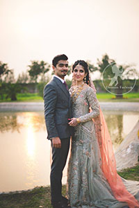 Light Gray Back Trail Bridal Maxi - Peach Dupatta