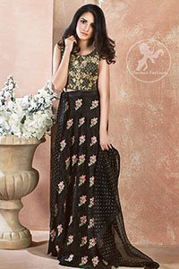 Black Embroidered Blouse Skirt - Banarsi Dupatta