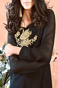 Black-Semi-Formal-Shirt-Bell-Bottom-Pants-Banarsi-Jamawar-Dupatta