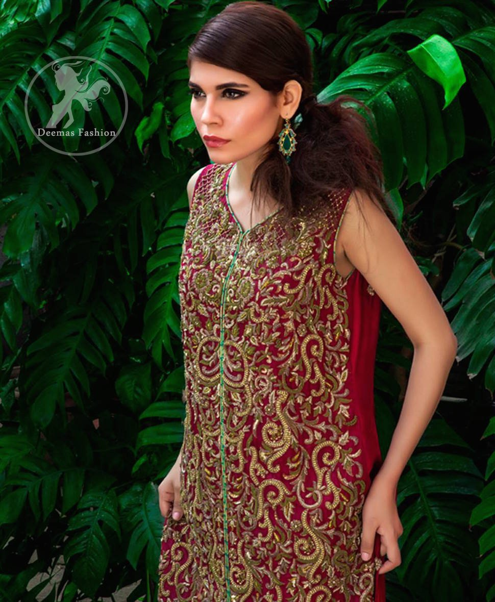 Deep Red Bridal Shirt - Turquoise Jamawar Sharara
