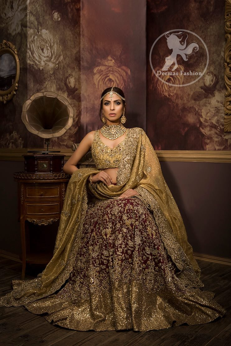 Designer Wear Bridal Collection 2017 - Dusty Gold Maroon Lehenga Choli
