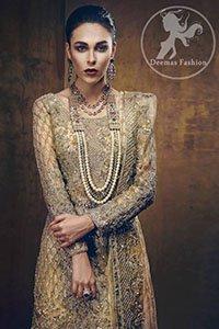 Golden Bridal Shirt - Lehenga - Organza Dupatta