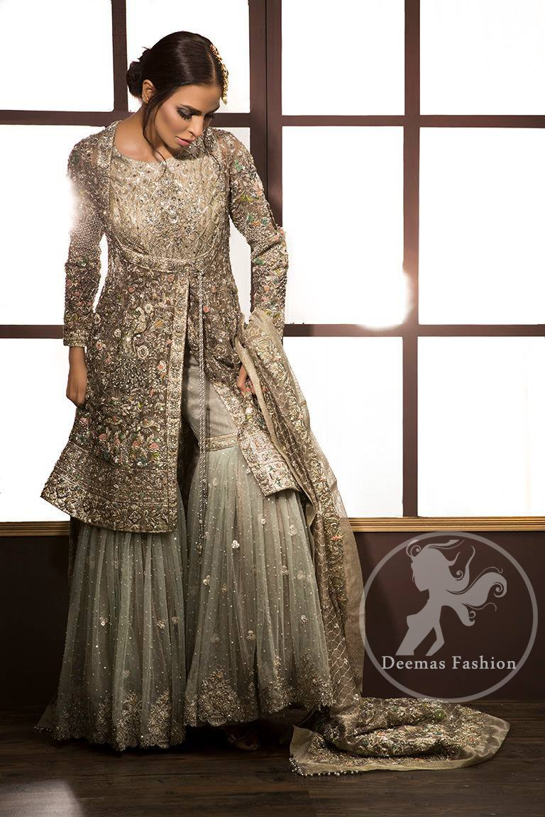 Light Fawn Embroidered Bridal Shirt - Dupatta - Gray Gharara