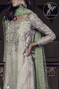 Light Fawn Party Wear Shirt - Cigarette Pants - Pistachio Dupatta