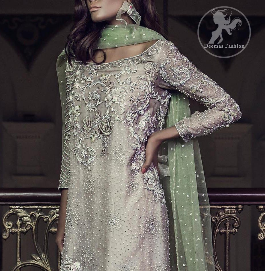 Light Fawn Party Wear Shirt - Jamawar Cigarette Pants - Pistachio Dupatta