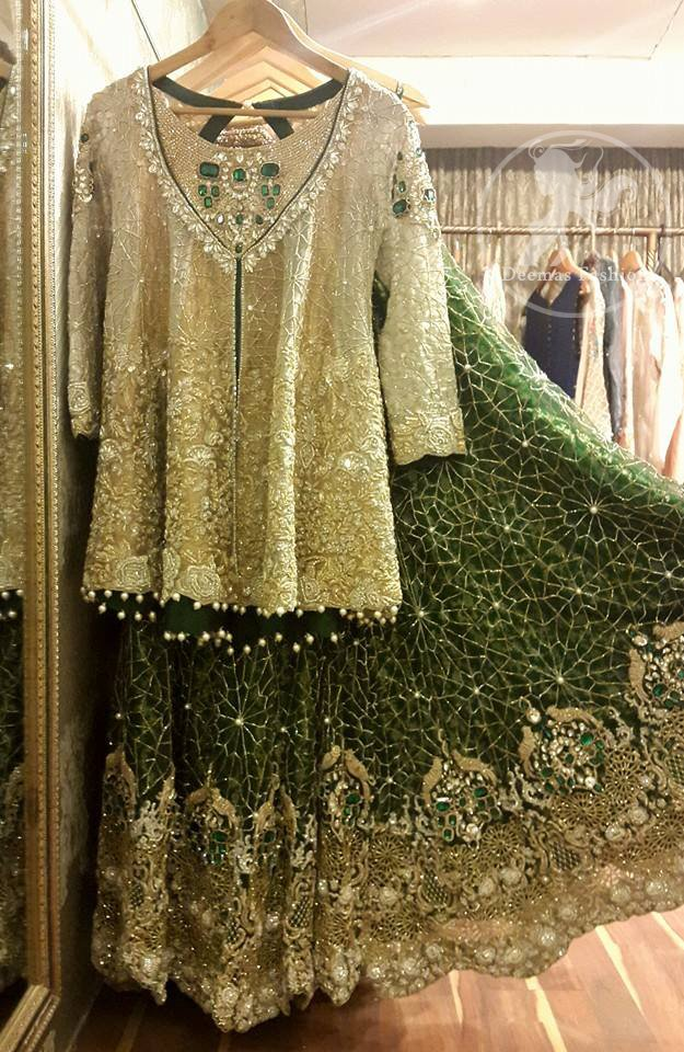 Light Fawn Short Shirt - Bottle Green Bridal Lehenga