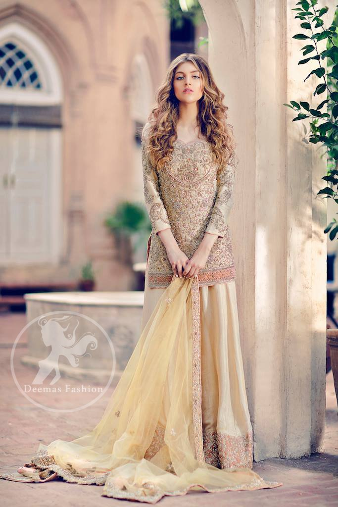 Light Yellow Fully Embroidered Shirt - Lehenga - Dupatta