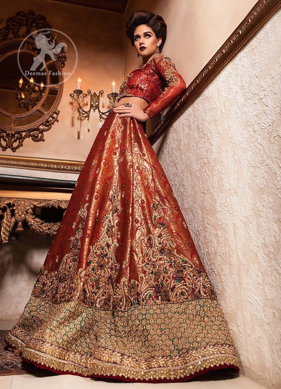 Orange Red Banarsi Bridal Lehenga - Choli