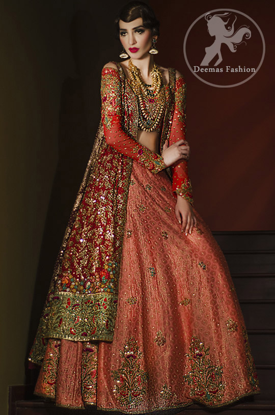 Bridal Lehenga Choli Design 2017 - Deep Red Gown - Dark Peach Lehenga