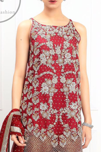 Bridemaids Dresses - Deep Red Embroidered Short Shirt - Rust Jamawar Palazzo