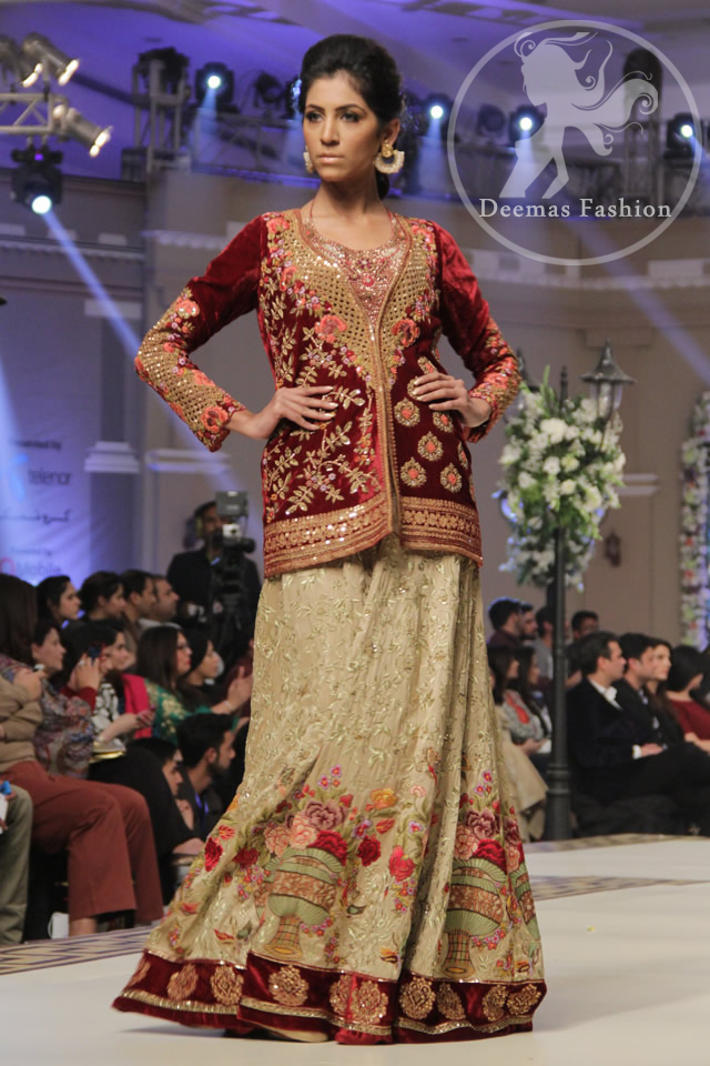 Designer Dress 2017 - Maroon Front Open Short Shirt - Beige Lehenga