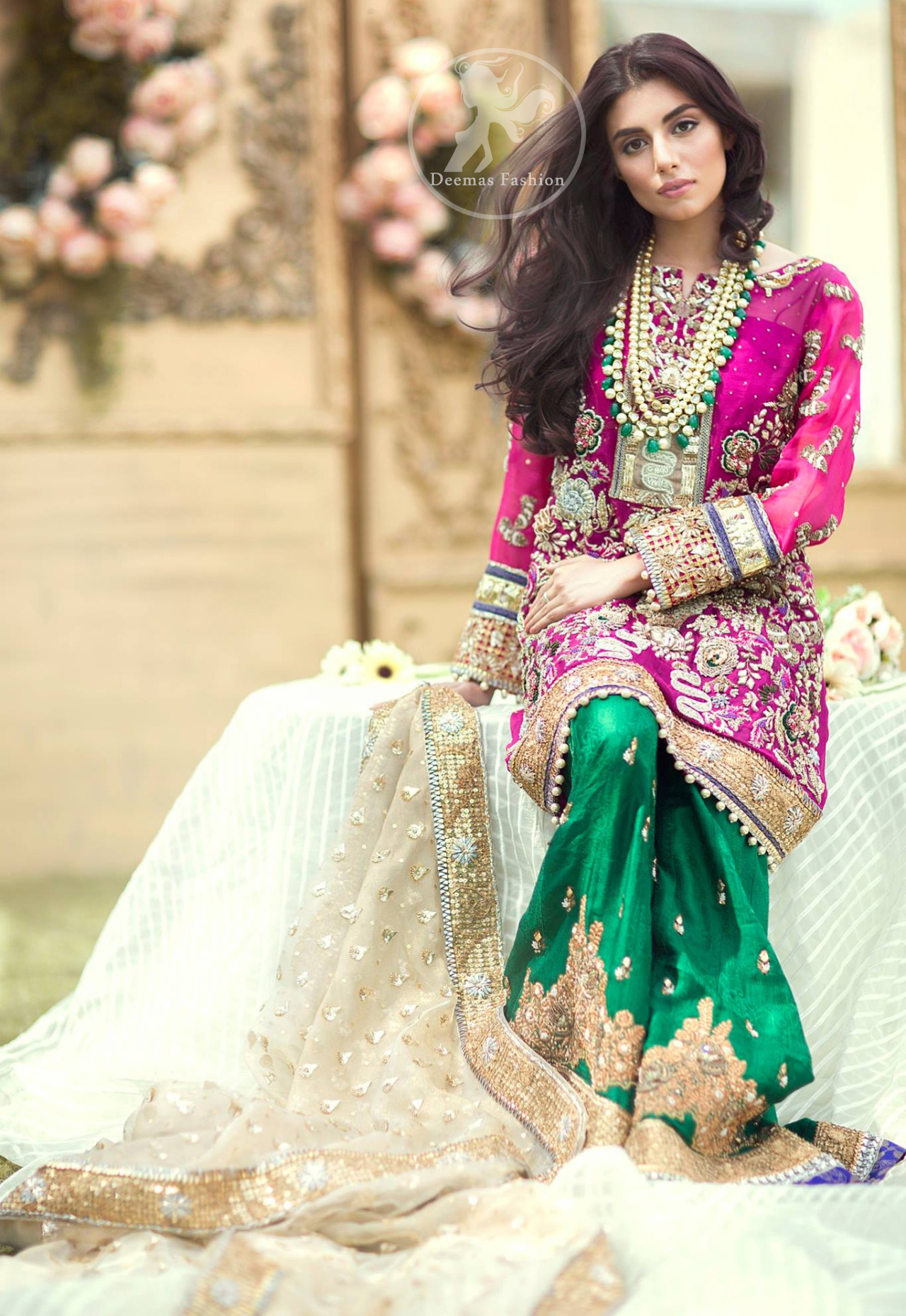 Dresses 2017 - Shocking Pink Shirt - Bottle Green Sharara - Beige ...