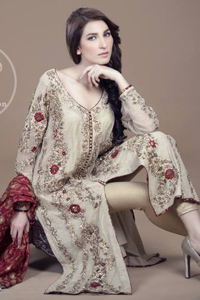 Off-White-Front-Open-Shirt-Golden-Trousers-Maroon-Jamawar-Dupatta