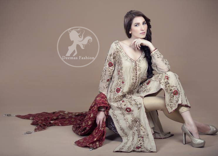 Off White Front Open Shirt - Golden Trouser - Maroon Jamawar Dupatta