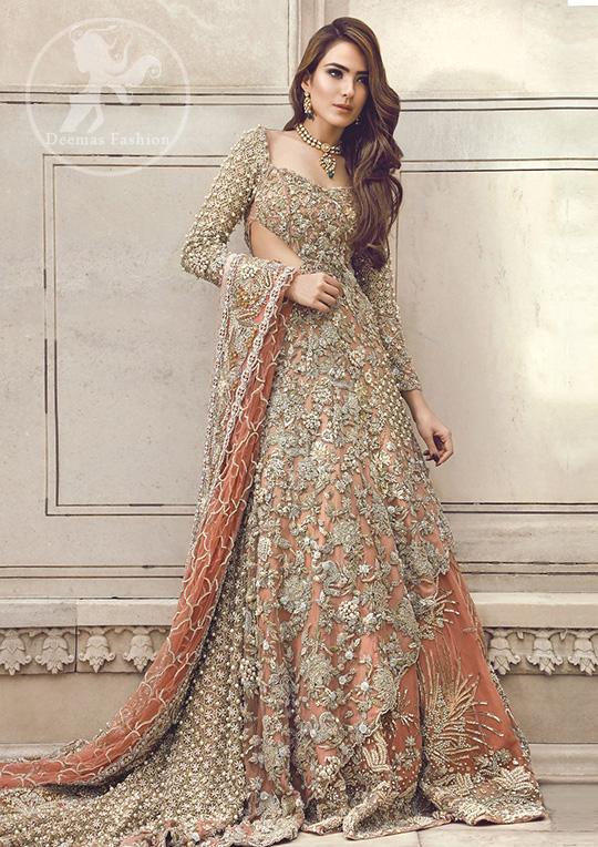 Pakistani Bridal Dress 2018 - Peach Back Trail Maxi ...