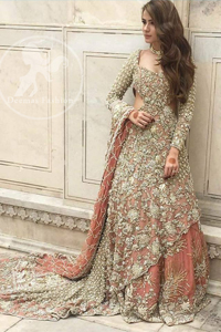 Pakistani Bridal Dress 2017 - Peach Back Trail Maxi- Embroidered Lehenga