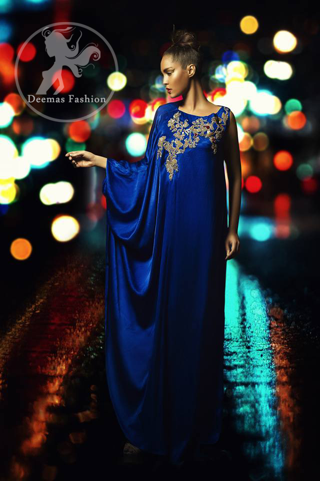 Pakistani Designer Dress 2017 - Royal Blue Party Wear Gown