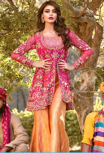 Shocking Pink Embroidered Short Frock - Orange Bell Bottom Pants