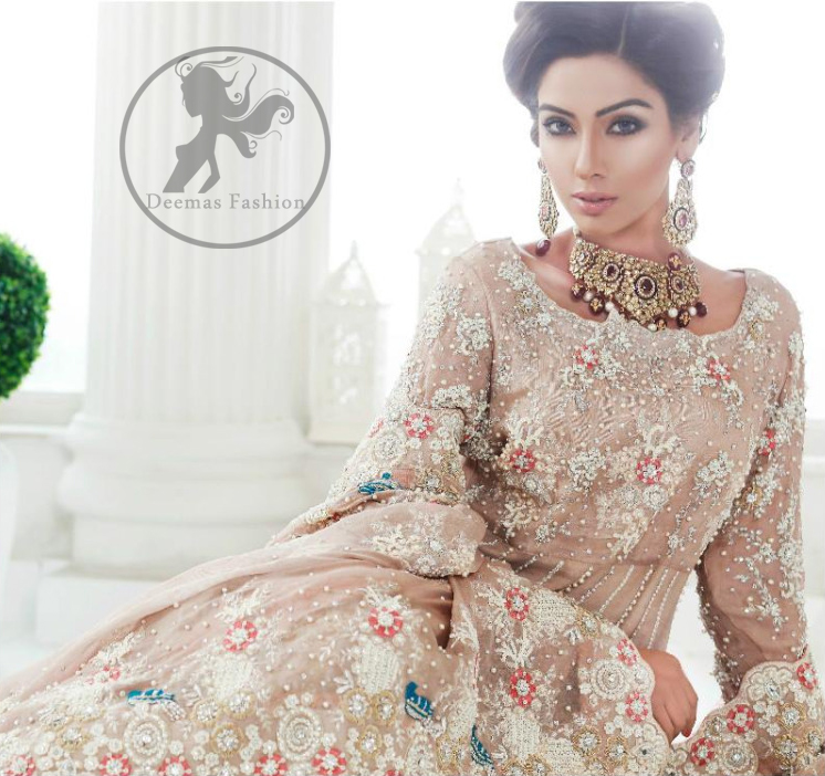 Pakistani Bridal Dress 2017 - Light Fawn Back Trail Frock - Peach Jamawar Lehenga