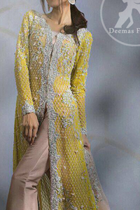 Mehndi Mayon Dresses 2017 – Yellow Front Open Gown – Beige Bell Bottom