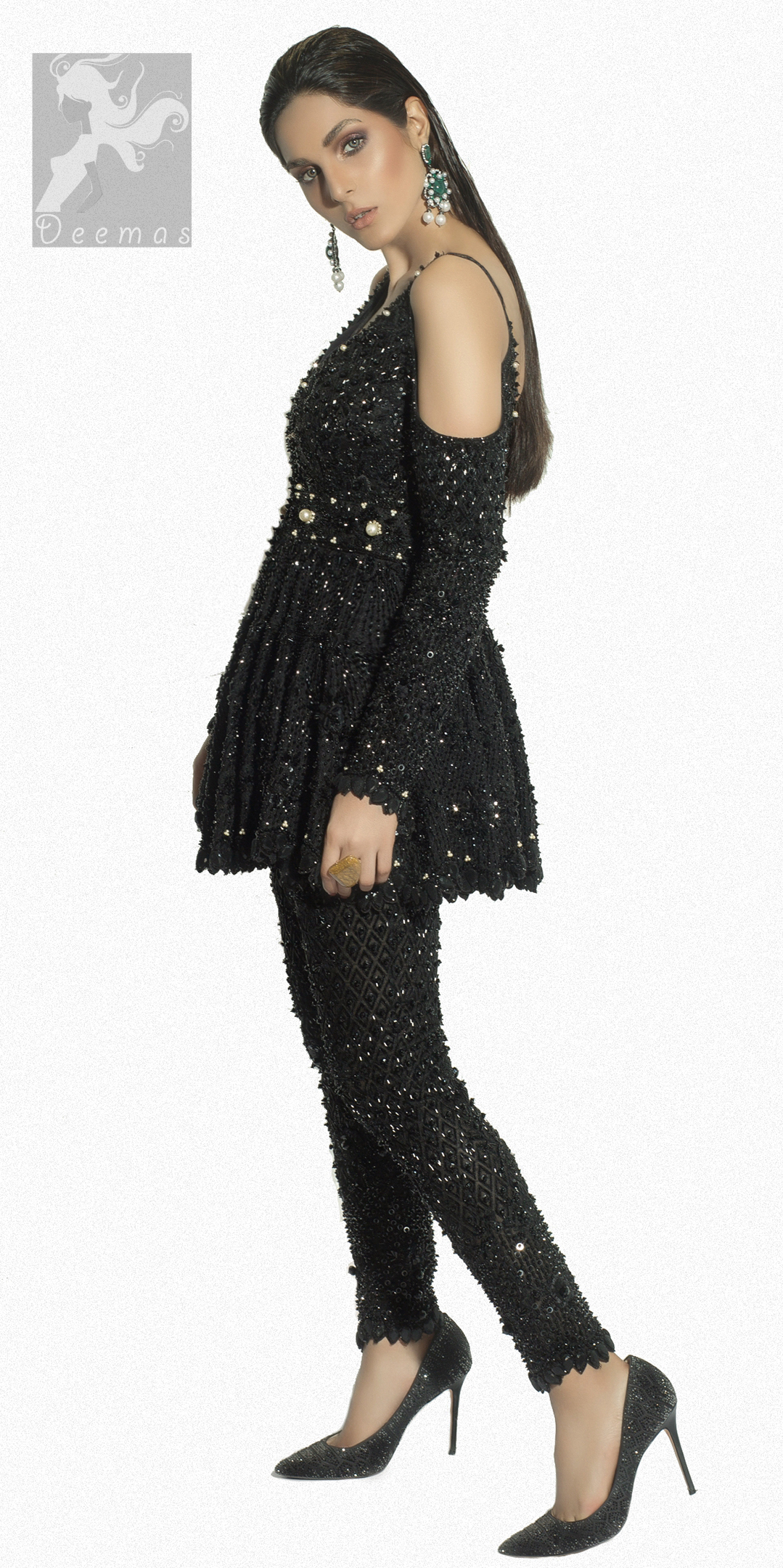 Black Peplum Dress with Trousers and Black Embellishment