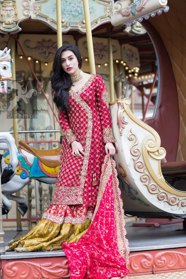 a85ea4cc3fd9 Gown adorned with dull golden and antique shades of embellishment. Pure  banarsi chiffon jamawar dupatta