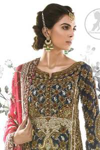 Bright Gray Shirt Brown Derby Sharara Dupatta
