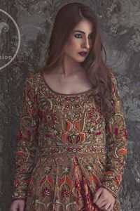 Dark Fone Brown Front Open Double Layer Frock Maroon Flush Dupatta