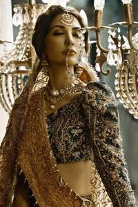Wood Smoke Lehengha Brown Bramble Dupatta