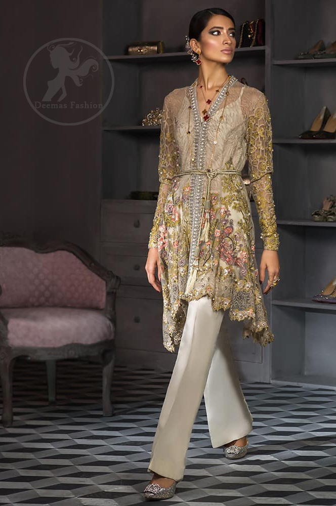 Brandy Rose Front Open Short Frock Quill Gray Pants