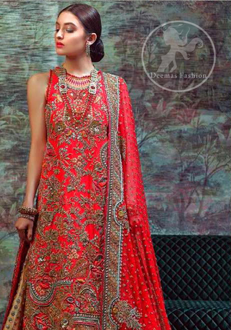 This dress is beautifully sculptured with floral thread embroidery. The halter shaped neckline meticulously highlighted with antique shaded kora, dabka, tilla, sequins and pearls. The shirt is ornamented with multiple color thread embroidered applique. It comes with chiffon dupatta which has four sided embellished border and sprinkled with sequins all over it. It is beautifully paired up with brocade sharara.